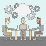 Εικόνα των συνέταιρων που συζητούν τα έγγραφα απεικόνιση αποθεμάτων