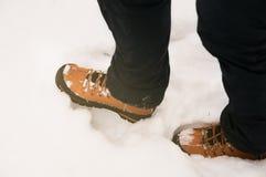 Εικόνα των χειμερινών παπουτσιών στο χιόνι στοκ φωτογραφίες