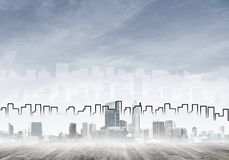 Εικόνα υποβάθρου με την κεντρική άποψη πόλεων ως σύγχρονη επιχειρησιακή ζωή γ Στοκ Εικόνες