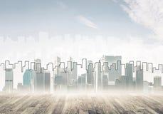 Εικόνα υποβάθρου με την κεντρική άποψη πόλεων ως σύγχρονη επιχειρησιακή ζωή γ Στοκ φωτογραφία με δικαίωμα ελεύθερης χρήσης