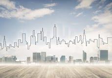 Εικόνα υποβάθρου με την κεντρική άποψη πόλεων ως σύγχρονη επιχειρησιακή ζωή γ Στοκ Εικόνα