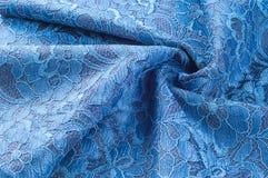 Εικόνα υποβάθρου σύστασης, μπλε δαντέλλα μεταξιού Περίκομψη διπλή δαντέλλα ribb Στοκ φωτογραφίες με δικαίωμα ελεύθερης χρήσης