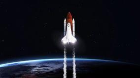 Εικόνα υψηλής ανάλυσης της απογείωσης διαστημικών λεωφορείων Στοκ Εικόνες