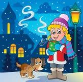 Εικόνα 2 κινούμενων σχεδίων χειμερινών προσώπων Στοκ φωτογραφία με δικαίωμα ελεύθερης χρήσης