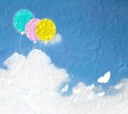 Εικόνα Grunge του μπλε ουρανού με τα σύννεφα και ζωηρόχρωμος Ζωηρόχρωμο ballo Στοκ Φωτογραφίες