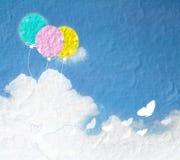 Εικόνα Grunge του μπλε ουρανού με τα σύννεφα και ζωηρόχρωμος Στοκ εικόνα με δικαίωμα ελεύθερης χρήσης