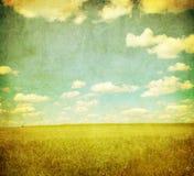 Εικόνα Grunge του πράσινων πεδίου και του μπλε ουρανού στοκ φωτογραφία με δικαίωμα ελεύθερης χρήσης