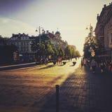 Χρυσός δρόμος τούβλου στοκ φωτογραφία