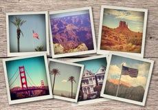 Εικόνες από τις δυτικές ΗΠΑ - το κολάζ στο ξύλινο υπόβαθρο έκανε όπως τις στιγμιαίες φωτογραφίες από την παλαιά κάμερα στοκ φωτογραφία
