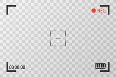 Εικόνες εξέτασης άποψης καμερών Οπτική εστίαση οθόνης Τηλεοπτική οθόνη καταγραφής σε ένα διαφανές υπόβαθρο Στοκ Φωτογραφίες