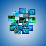Εικόνες σε ένα μπλε υπόβαθρο 24.06.13 Στοκ φωτογραφία με δικαίωμα ελεύθερης χρήσης
