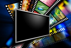 Εικόνες ταινιών οθόνης κινηματογράφων Στοκ φωτογραφία με δικαίωμα ελεύθερης χρήσης