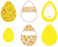 Εικόνες των διανυσματικών αυγών με τα διαφορετικά σχέδια σε κίτρινο σ απεικόνιση αποθεμάτων