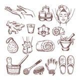 Εικόνες Doodle που τίθενται για τη χαλάρωση ή massage spa το σαλόνι Απεικονίσεις Aromatherapy ελεύθερη απεικόνιση δικαιώματος