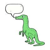 δεινόσαυρος κινούμενων σχεδίων με τη λεκτική φυσαλίδα Στοκ Φωτογραφίες