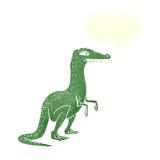 δεινόσαυρος κινούμενων σχεδίων με τη λεκτική φυσαλίδα Στοκ Φωτογραφία