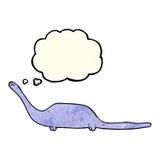 δεινόσαυρος κινούμενων σχεδίων με τη σκεπτόμενη φυσαλίδα Στοκ εικόνα με δικαίωμα ελεύθερης χρήσης