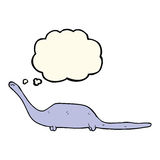 δεινόσαυρος κινούμενων σχεδίων με τη σκεπτόμενη φυσαλίδα Στοκ Εικόνες