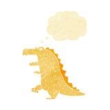 δεινόσαυρος κινούμενων σχεδίων με τη σκεπτόμενη φυσαλίδα Στοκ Φωτογραφία
