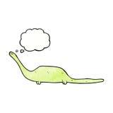 δεινόσαυρος κινούμενων σχεδίων με τη σκεπτόμενη φυσαλίδα Στοκ φωτογραφία με δικαίωμα ελεύθερης χρήσης