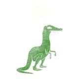 δεινόσαυρος κινούμενων σχεδίων με τη σκεπτόμενη φυσαλίδα Στοκ Φωτογραφίες