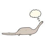 δεινόσαυρος κινούμενων σχεδίων με τη σκεπτόμενη φυσαλίδα Στοκ εικόνες με δικαίωμα ελεύθερης χρήσης