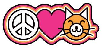 Ειρήνη-αγάπη-Pussycats Στοκ φωτογραφία με δικαίωμα ελεύθερης χρήσης