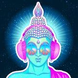 ειρήνη και αγάπη Ο ζωηρόχρωμος Βούδας στα γυαλιά ουράνιων τόξων που ακούει  απεικόνιση αποθεμάτων