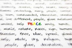 Ειρήνη λέξης Στοκ φωτογραφίες με δικαίωμα ελεύθερης χρήσης