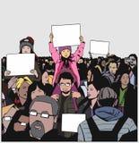 Ειρηνική διαμαρτυρία πλήθους απεικόνισης με τα παιδιά που κρατούν τα κενά σημάδια Στοκ Εικόνες