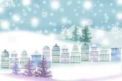 Ειρηνικό τοπίο Χριστουγέννων της πόλης - γραφική σύσταση ζωγραφικής απεικόνιση αποθεμάτων