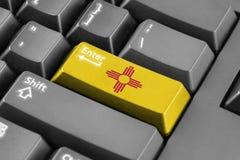 Εισάγετε το κουμπί με την κρατική σημαία Νέων Μεξικό Στοκ Εικόνες