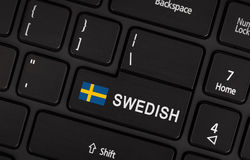 Εισάγετε το κουμπί με τη σημαία Σουηδία - έννοια της γλώσσας Στοκ Φωτογραφίες