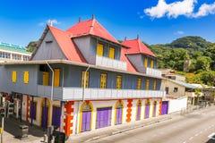 Εισαγωγές Jivan που χτίζουν ενός από το εικονίδιο της κληρονομιάς Seychelles's Στοκ Φωτογραφίες