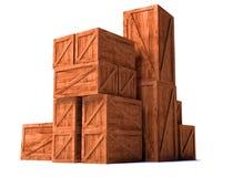 εισαγωγή εξαγωγής φορτίου κιβωτίων ξύλινη Στοκ Εικόνες