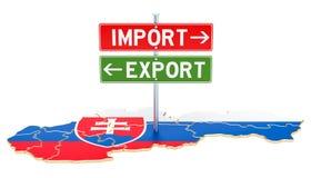 Εισαγωγή και εξαγωγή στην έννοια της Σλοβακίας, τρισδιάστατη απόδοση απεικόνιση αποθεμάτων
