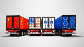 Εισαγωγή και εξαγωγή των εμπορευμάτων από τα εμπορευματοκιβώτια στα ρυμουλκά του coun διανυσματική απεικόνιση