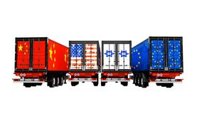 Εισαγωγή και εξαγωγή των εμπορευμάτων από τα εμπορευματοκιβώτια στα ρυμουλκά του coun απεικόνιση αποθεμάτων