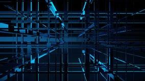 Εισαγωγή ραδιοφωνικής μετάδοσης Γεωμετρικές γραμμές πλέγματος και τρισδιάστατη ζωτικότητα κύβων ελεύθερη απεικόνιση δικαιώματος