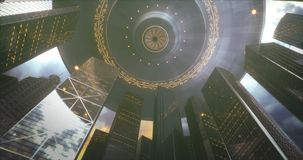 Εισβολή ουρανοξυστών πόλεων UFO ελεύθερη απεικόνιση δικαιώματος