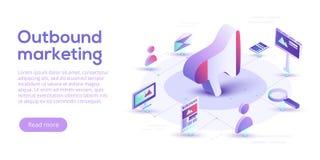 Εισερχόμενη και εξερχόμενη διανυσματική επιχειρησιακή απεικόνιση μάρκετινγκ στο ι απεικόνιση αποθεμάτων