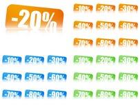 Εισιτήρια έκπτωσης ποσοστού, 3 σύνολα χρώματος Στοκ Εικόνες