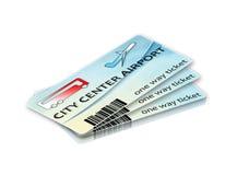 Εισιτήρια λεωφορείων από το κέντρο πόλεων στον αερολιμένα και την επιστροφή - ima έννοιας Στοκ Εικόνες