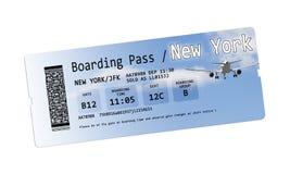 Εισιτήρια περασμάτων τροφής αερογραμμών στη Νέα Υόρκη που απομονώνεται στο λευκό Στοκ Εικόνες