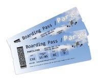 Εισιτήρια περασμάτων τροφής αερογραμμών στο Παρίσι στο λευκό Στοκ Εικόνες