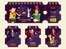 Εισιτήρια τσίρκων καθορισμένα απεικόνιση Στοκ Φωτογραφία