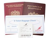 Εισιτήριο για την έκδοση των αποσκευών Στοκ Εικόνες