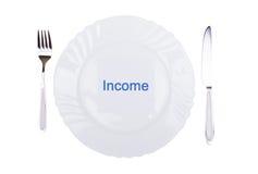 Εισόδημα λέξης στο πιάτο Στοκ εικόνα με δικαίωμα ελεύθερης χρήσης
