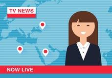 Ειδήσεις ανάγνωσης Anchorwoman στη ζωντανή ραδιοφωνική μετάδοση TV Στοκ φωτογραφίες με δικαίωμα ελεύθερης χρήσης