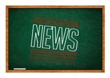 Ειδήσεις στον πράσινο πίνακα κιμωλίας Στοκ εικόνα με δικαίωμα ελεύθερης χρήσης